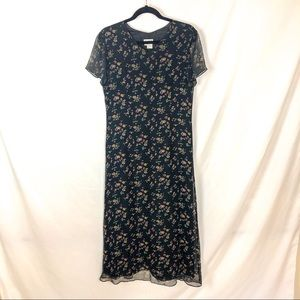 Vintage 90s Silk Chiffon Floral Midi Dress